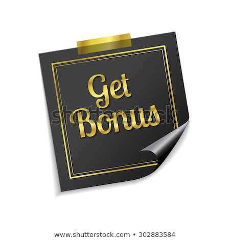 Get Bonus Golden Sticky Notes Vector Icon Design Stock photo © rizwanali3d