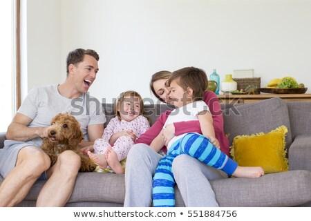 Glücklich Paar Welpen Sofa home Stock foto © wavebreak_media