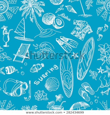 Blue surfing hand draw pattern Stock photo © netkov1