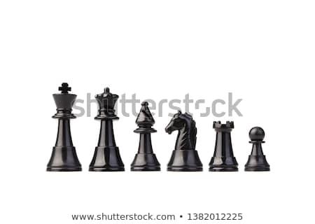 Stock fotó: Fekete · sakkfigurák · izolált · fehér · háttér · sakk