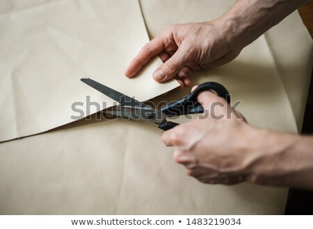 Mãos dois governar faca pronto exatamente Foto stock © hfng