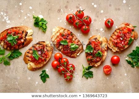 Bruschetta picante pan tomate chile salsa Foto stock © Fotografiche