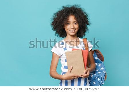 Stockfoto: Student · boeken · rugzak · geïsoleerd · witte · gelukkig