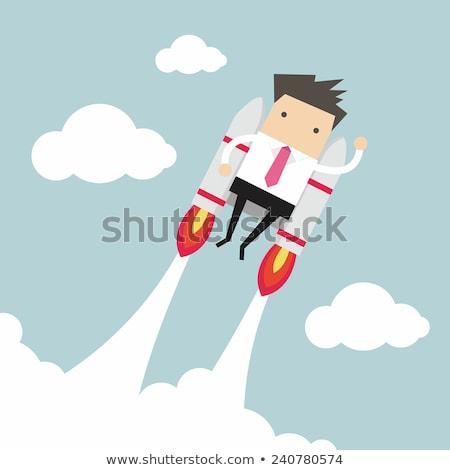 Foto stock: Vetor · homem · voador · alegre · espaço · retrato