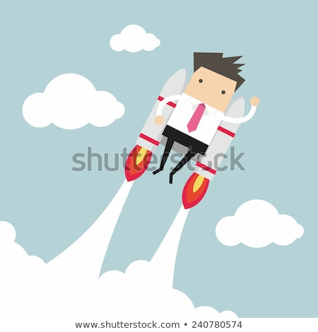 astronauta · jato · empacotar · feliz · desenho · animado · criança - foto stock © morphart