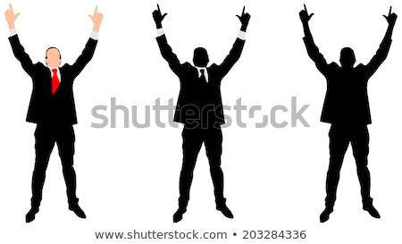 Stock fotó: Dinamikus · üzletemberek · kezek · magasban · izolált · fehér · üzletember