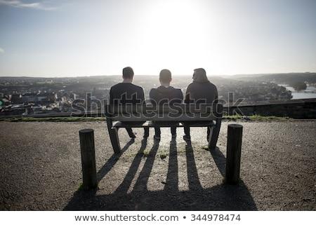 три мужчин силуэта широкоугольный бизнеса друзей Сток-фото © Paha_L