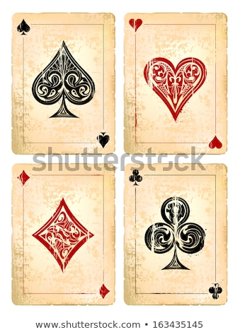 Vintage playing poker card Heart symbol, vector illustration Stock photo © carodi