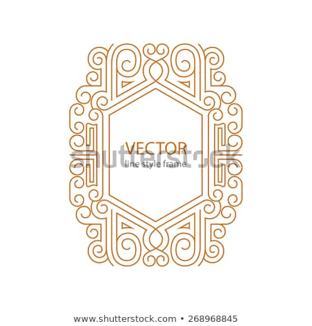 Vector geometric linear style frame - art deco border for text. Sketchbook cover design Stock photo © Fractal86