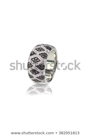 Noir diamant anniversaire de mariage anneau blanche Photo stock © fruitcocktail
