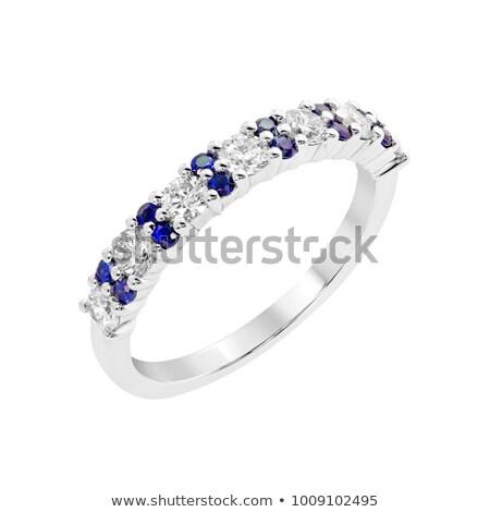 zafír · gyémánt · házassági · évforduló · zenekar · izolált · fehér - stock fotó © fruitcocktail