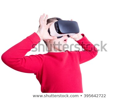 Boy in red shirt with virtual reality glasses Stock photo © ozgur