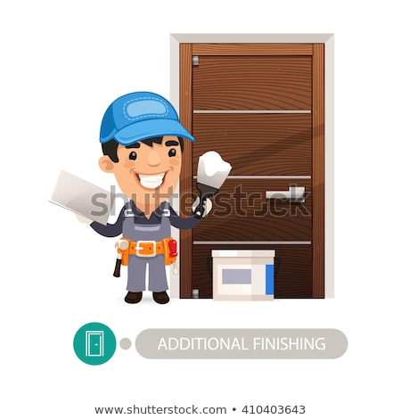 Worker Performs Finishing Doorway Work Stock photo © Voysla