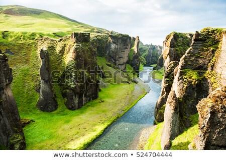 Rio Islândia corrida rocha cachoeira Foto stock © elxeneize