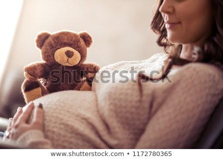 zwangere · moeder · teddybeer · bed · vrouw - stockfoto © nobilior