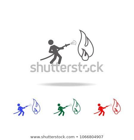 A simple drawing of a fireman holding a hose Stock photo © bluering