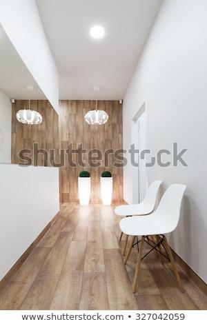 moderno · sala · de · espera · interior · vazio · couro · madeira · de · lei - foto stock © photocreo
