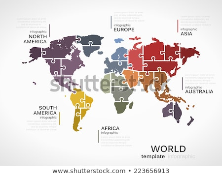 puzzel · wereld · 3D · wereldkaart · stukken · internet - stockfoto © marinini