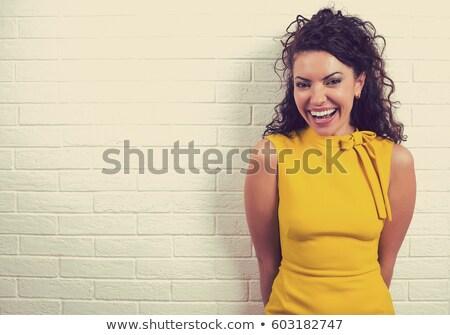 mosolygó · nő · pózol · téglafal · portré · nő · boldog - stock fotó © filipw