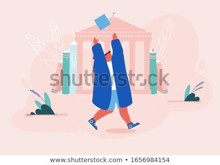 Homem graduação vestido roxo ilustração feliz Foto stock © bluering