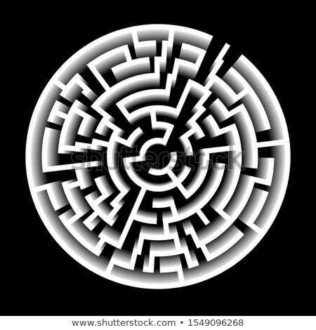 Stock photo: White circle labyrinth with key. 3D image