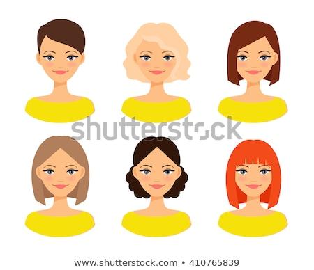 grande · conjunto · cabelo · preto · mulher · vetor - foto stock © panaceadoll
