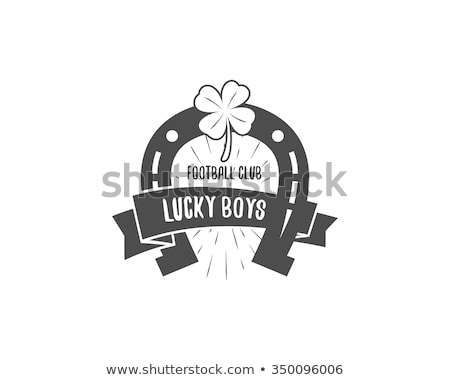 American football lucky horseshoe label. Unusual sports emblem design. Usa sport logo concept with  Stock photo © JeksonGraphics