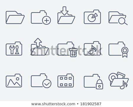 media folder line icon stock photo © rastudio