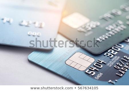 cüzdan · kredi · kartları · siyah · ışık · alışveriş · mavi - stok fotoğraf © krysek