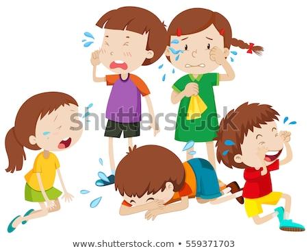 Vijf kinderen huilen tranen illustratie meisje Stockfoto © bluering