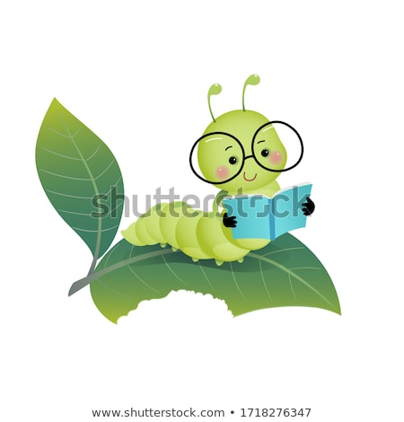 Cute caterpillar wearing glasses Stock photo © bluering