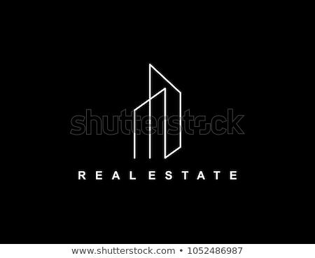 minimal line real estate logo design concept Stock photo © SArts