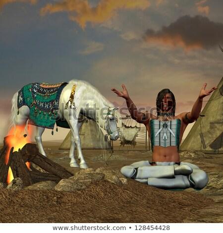 Indian uomo cacciatore illustrazione cavallo silhouette Foto d'archivio © adrenalina