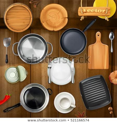 Kitchen utensil on top of the table. 3D illustration Stock photo © Kirill_M