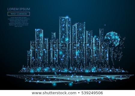 drótváz · város · épületek · terv · terv · művészet - stock fotó © maxmitzu