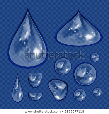 Realistic blue water drop. 3d icon droplet falls. Vector illustration. Stock photo © lucia_fox
