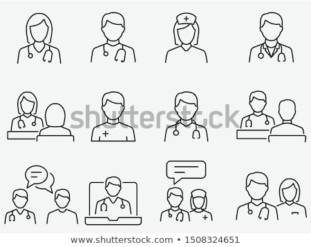 black doctors team with medical icons stock photo © vectorikart