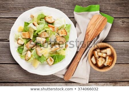 Fresco salada césar branco tigela queijo parmesão topo Foto stock © Yatsenko