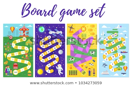 Stijl illustratie kinderen pretpark bordspel vector Stockfoto © curiosity