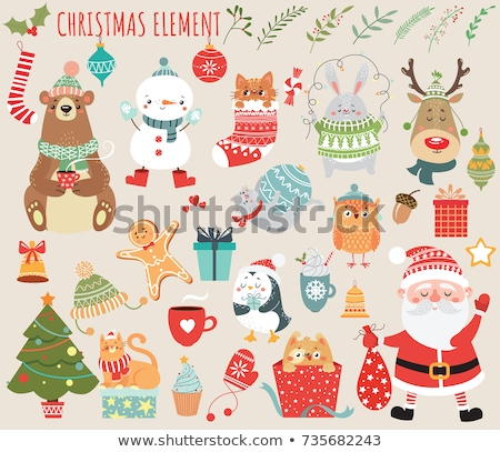 Stockfoto: Vector Cartoon Style Illustration Of Christmas Cat With Cup