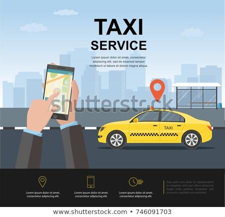 Taksi hizmet poster harita yol şehir Stok fotoğraf © Leo_Edition