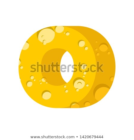 Stock photo: Letter O cheese font. Symbol of cheesy alphabet. Dairy Food type
