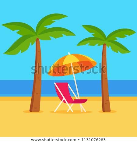 Тропический остров гамак пальмами изолированный белый вектора Сток-фото © orensila