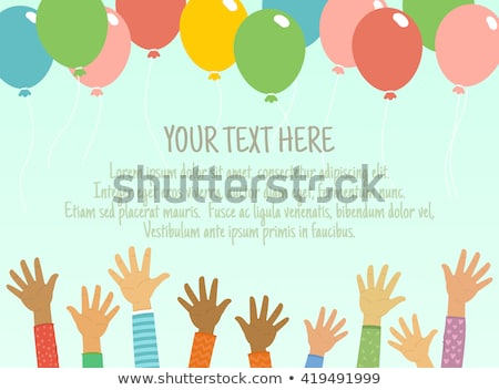 happy childrens day poster with bright air balloon stock photo © robuart
