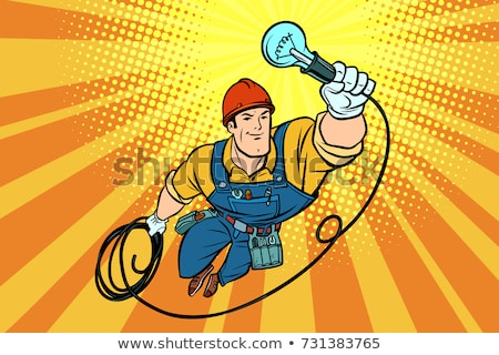 Stock photo: Worker Electrician Light Bulb Flying Superhero