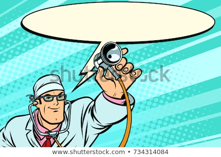 doctor physician with stethoscope says comic cloud stock photo © rogistok