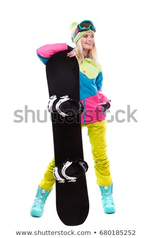 pretty young blonde woman in colorful snow coat hold snowboard stock photo © traimak