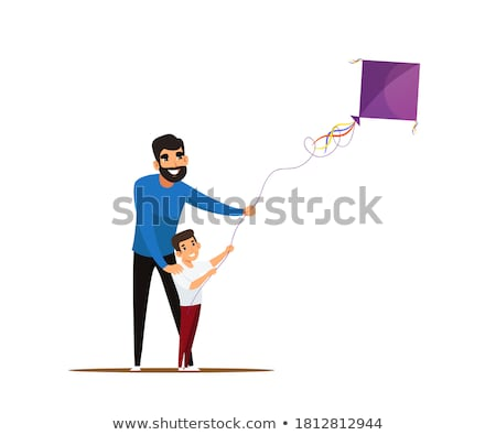 father and son building kite Stock photo © IS2