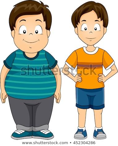 Kids Boys Fat Thin Stock photo © lenm