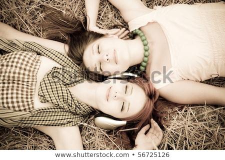портрет · две · женщины · области · пейзаж · весело · цвета - Сток-фото © massonforstock
